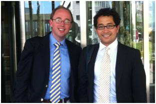 Penrose Care co-founders Dr. Matthew Knight (left) and Robert Stephenson-Padron (Right) Pamplona, Spain (June 4, 2012)