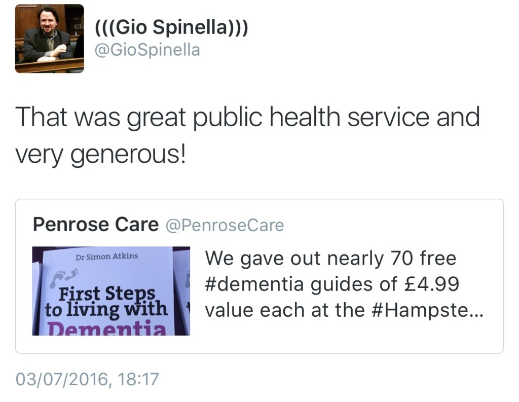 2016-07-03 (Gio Spinella) Tweet Penrose Care Dementia