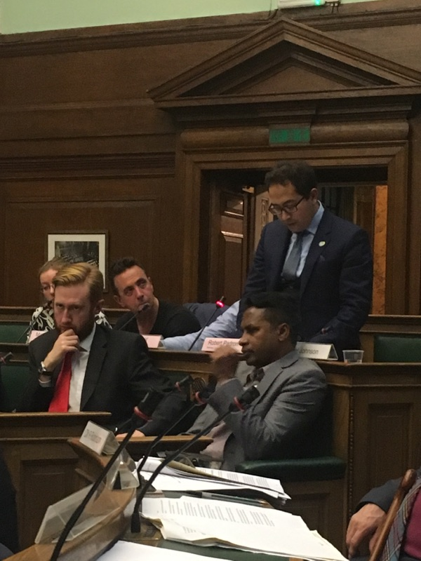 Penrose Care managing director Robert Stephenson-Padron speaks at Camden Council about Brexit. Photo 4