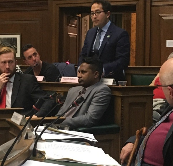 Penrose Care managing director Robert Stephenson-Padron speaks at Camden Council about Brexit. Photo 5