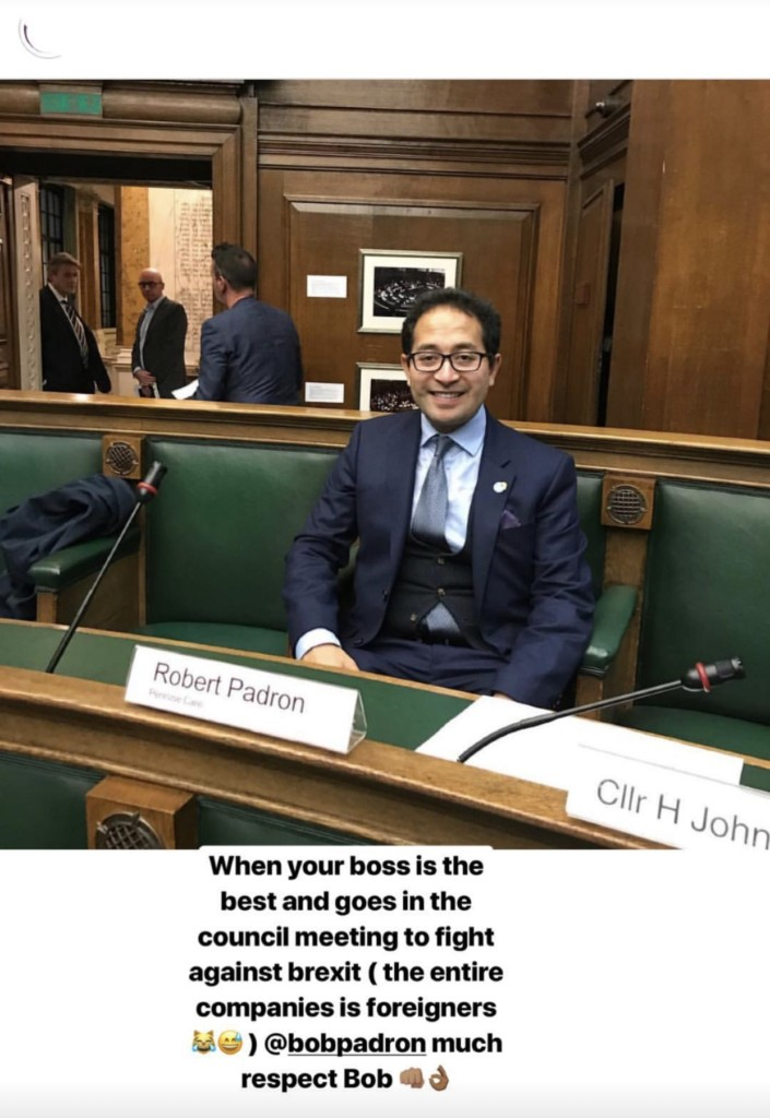 Penrose Care managing director Robert Stephenson-Padron at Camden Council - praised by a colleague on Instagram.