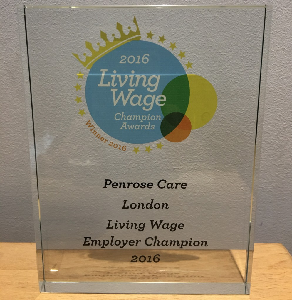2016-10-31 (Penrose Care) Living Wage Champion award